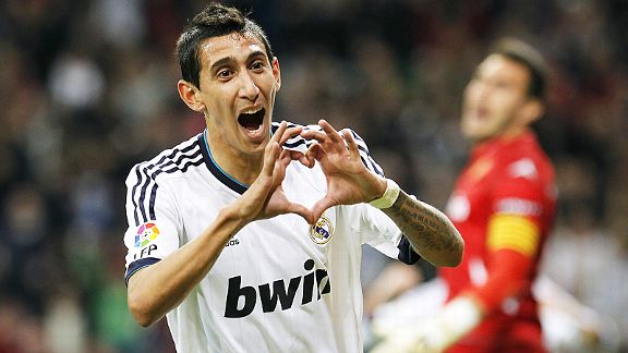 Angel di Maria celebrates his goal in Real Madrid's 3-0 win over Real Zaragoza