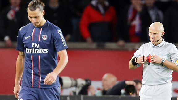 PSG's Zlatan Ibrahimovic is sent for an early bath in the shock defeat against St Etienne