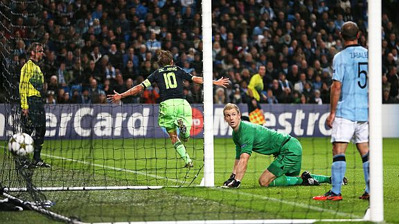 Siem De Jong celebrates after putting Ajax into an early lead at Eastlands