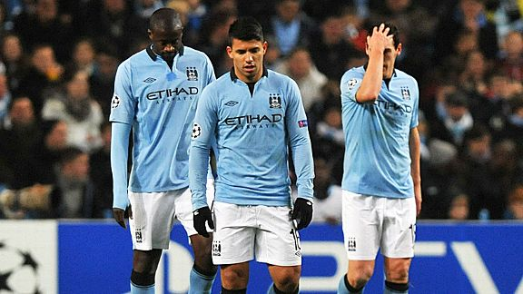 Man City's players are crestfallen after conceding a goal to Ajax