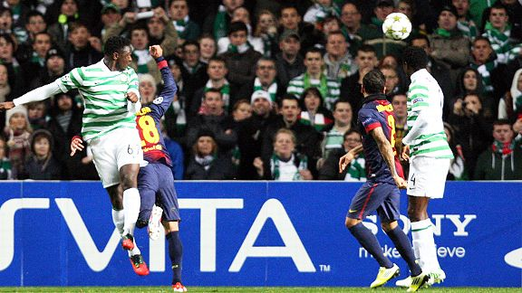 Victor Wanyama heads Celtic into a shock lead against Barcelona