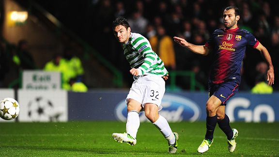 Teenager Tom Watt coolly fires home Celtic's second against Barcelona