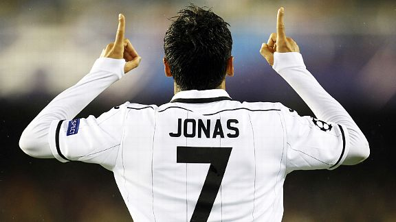 Jonas celebrates after putting Valencia on their way to a comfortable victory over BATE