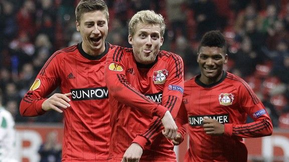 Andre Schuerrle celebrates scoring for Bayer Leverkusen