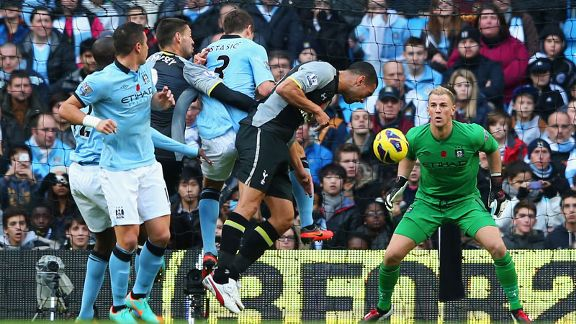 Steven Caulker scores for Tottenham against Manchester City