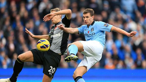 Edin Dzeko scored Man City's late winner against Spurs