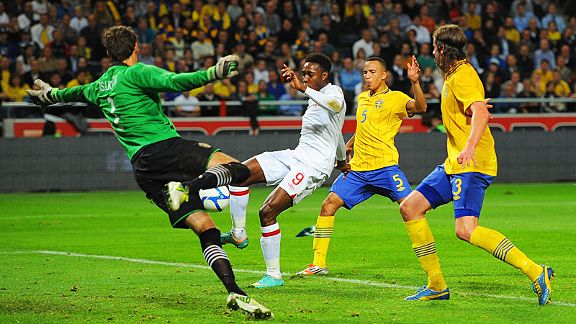 Danny Welbeck equalises for England against Sweden from close range