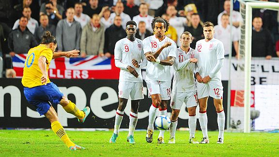 Zlatan Ibrahimovic fires home his hat-trick goal against England from a free-kick