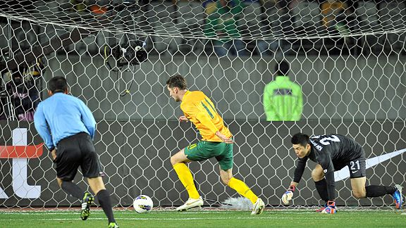 Robert Cornthwaite can't miss to give Australia a 2-1 win over South Korea