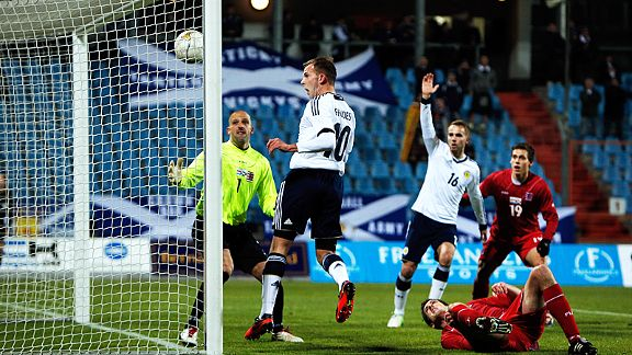 Jordan Rhodes nods home from close range, one of two goals he scored in Scotland's win in Luxembourg