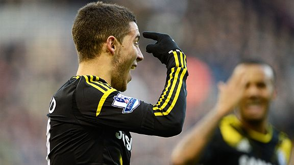 Eden Hazard celebrates after nodding Chelsea level at the Hawthorns