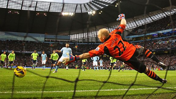 Sergio Aguero scores from the spot to double Man City's lead at home to Villa