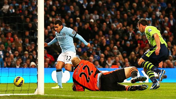 Carlos Tevez rounds off a 5-0 victory for Man City against Aston Villa