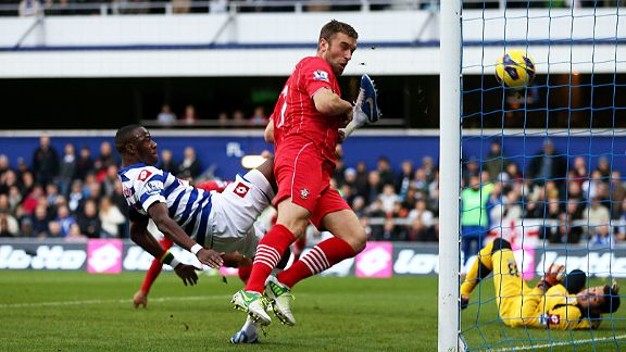 Rickie Lambert heads home the first goal of the game for Southampton at QPR