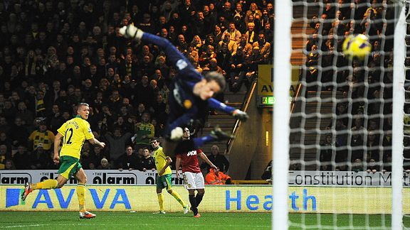 Anders Lindegaard is helpless to stop Anthony Pilkington heading Norwich in front against Man United