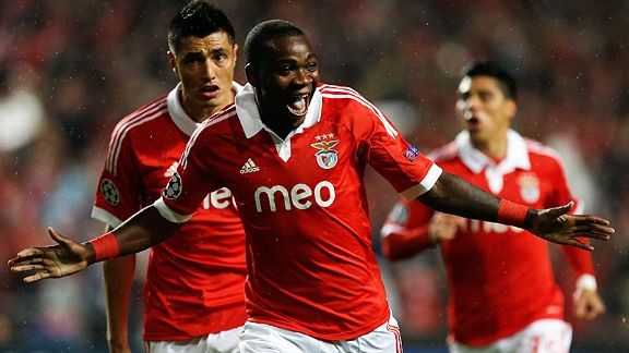 Ola John celebrates after scoring Benfica's first against Celtic