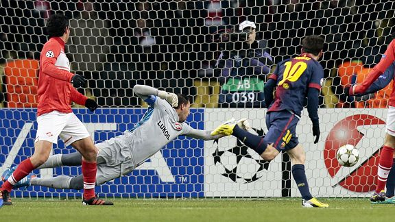 Lionel Messi scores his first goal against Spartak Moscow