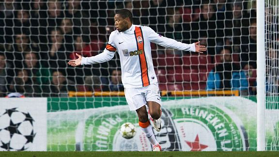 Luiz Adriano shrugs innocently after scoring via a drop-ball for Shakhtar against FC Nordsj�lland