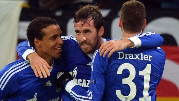 Christian Fuchs (c) registered Schalke's winner against Olympiakos