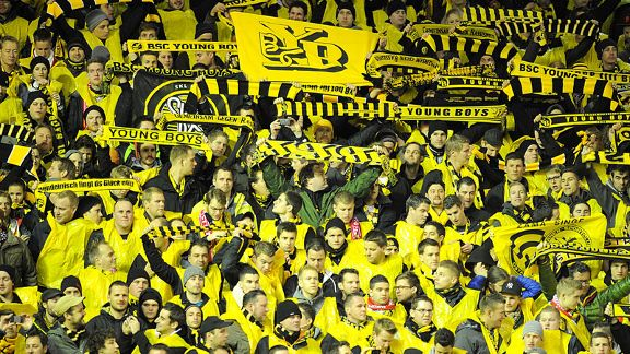 Young Boys fans at Anfield