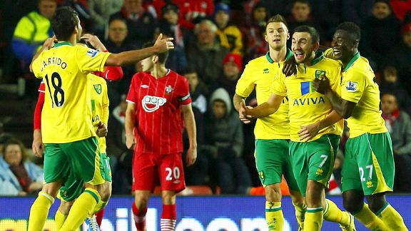 Norwich celebrate after Robert Snodgrass brought the Canaries back on level terms at Southampton