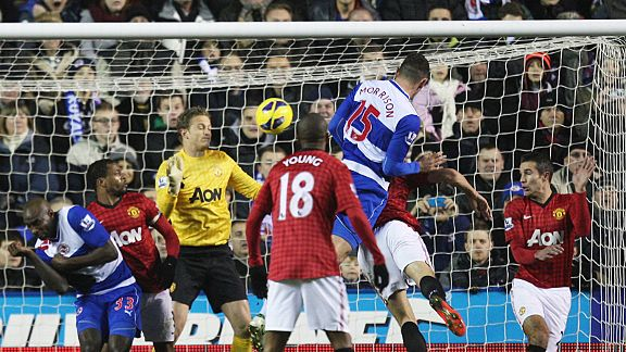 Sean Morrison heads home Reading's third goal against Man United
