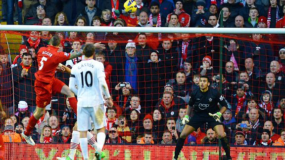 Dan Agger heads Liverpool into the lead at home to Southampton
