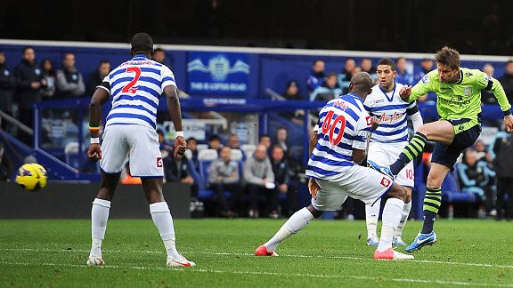 Brett Holman fires Aston Villa into the lead at QPR