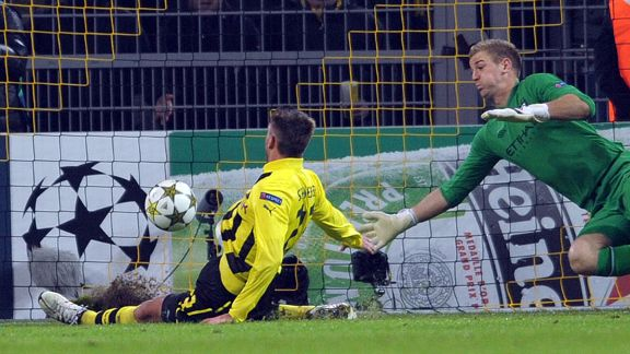 Julian Schieber puts Dortmund into the lead against Manchester City