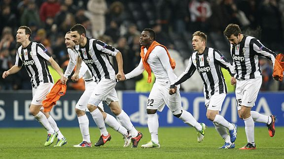 Juventus celebrate after their win at Shakhtar Donetsk left them sat on top of the group