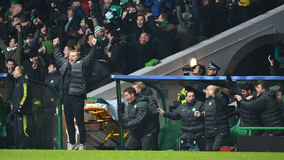 Neil Lennon jumps for joy as Chelsea book their place in the Champions League knockout rounds