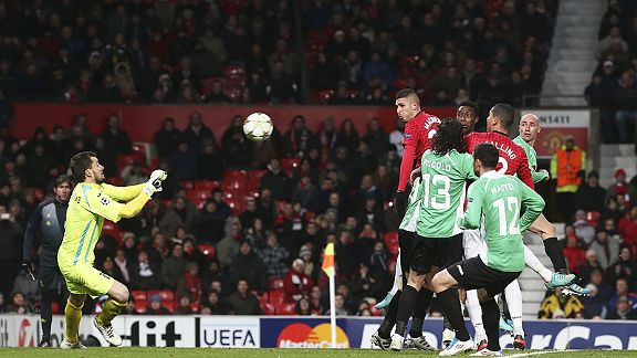 Federico Macheda tries is luck with a header, but has never pushed on from that goal against Aston Villa