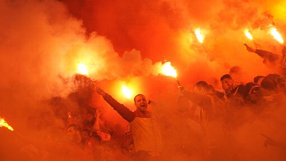 Galatasaray fans light up the night as they head into the knockout rounds