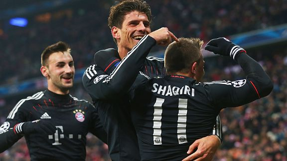 Bayern Munich celebrate after Xherdan Shaqiri headed home their third goal