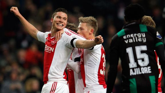 Derk Boerrigter celebrates after opening the scoring for Ajax against Groningen