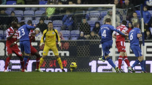 James McCarthy fires Wigan into the lead against Queens Park Rangers