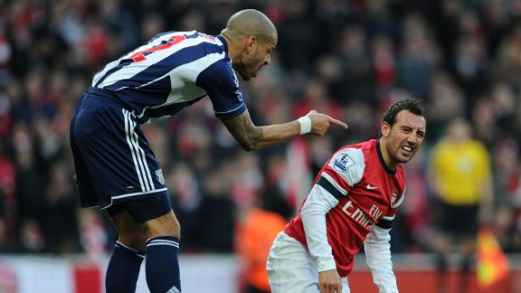 Steven Reid accuses Santi Cazorla of diving to win a penalty for Arsenal's opener against West Brom