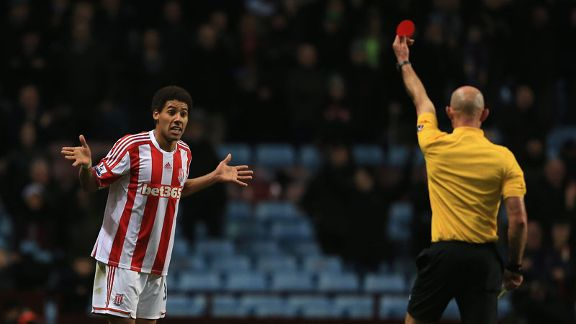 Ryan Shotton was sent off during Stoke's goalless draw with Aston Villa