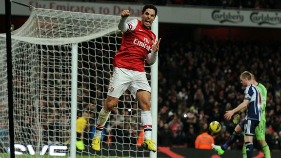 Mikel Arteta celebrates after netting Arsenal's second from the penalty spot