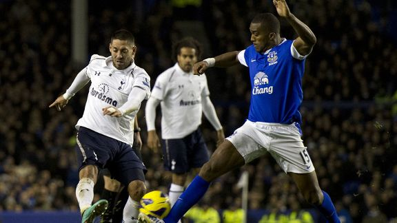 Clint Dempsey put Tottenham into the lead against Everton