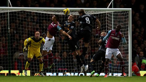Steven Gerrard scores an own goal to give West Ham a 2-1 lead