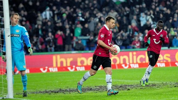 Szabolcs Huszti celebrates after scoring the first of his two penalties for Hannover