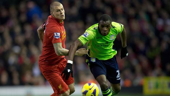 Christian Benteke gave Martin Skrtel the runaround as Aston Villa beat Liverpool