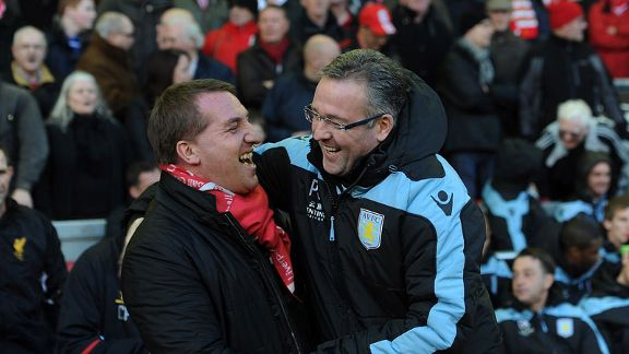 Brendan Rodgers and Paul Lambert are all smiles before Aston Villa's win over Liverpool