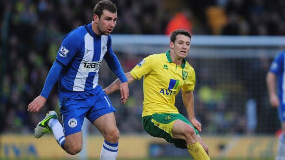 Norwich goalscorer Wes Hoolahan battles for possession with Wigan's James McArthur