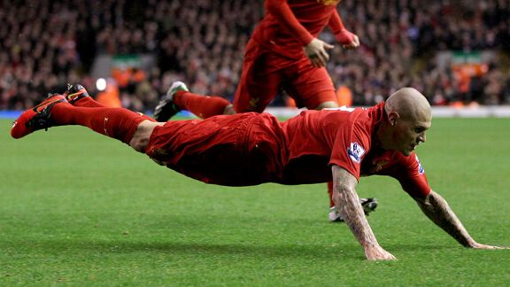 Martin Skrtel celebrates giving Liverpool the early lead against Fulham