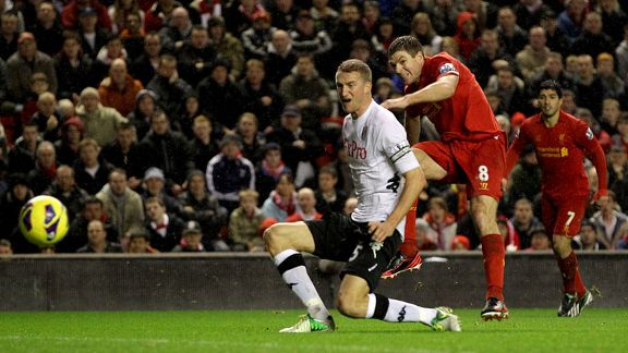 Steven Gerrard fires home Liverpool's second goal