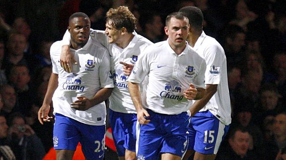 Victor Anichebe celebrates with his team-mates after netting an equaliser for Everton