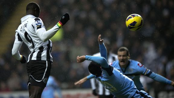 Newcastle striker Papiss Demba Cisse sees a chance go begging against QPR