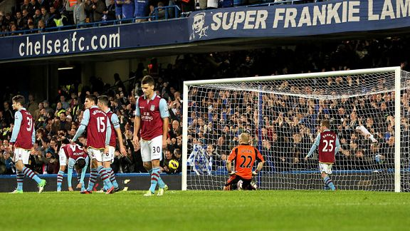 Aston Villa show their frustration after falling 3-0 behind from a Branislav Ivanovic header